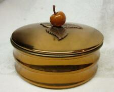 Mid Century Chase Copper Covered Dish w Bakelite Cherry Finial Sgnd