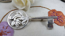 Fabulous Large Vintage Taxco Mexico Sterling Silver Key Brooch 925