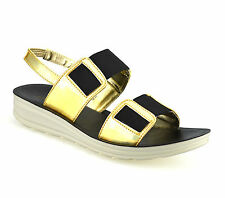 Ladies Womens Low Wedge Heel Comfort Walking Slingback Summer Sandals Shoes Size UK 7 Gold