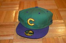 Rare NEW ERA 7 1/2 Chicago Cubs Fitted Straight Brim Baseball Hat Green Purple