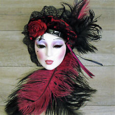 Clay Art USA LADY FACE MASK New Orleans Mardi Gras Black Wine Feather Wall Decor