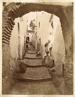 Algérie, Rue arabe  Vintage albumen print.  Tirage albuminé  18x24  Circa