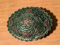 VINTAGE ORNATE BRASS PAINTED HORSE BRIDLE MEDALLION $15