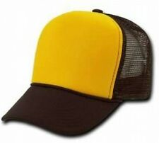 Gold Front Brown Mesh Blank Snap Back Cap Trucker Mesh Hat