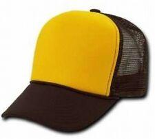 Gold Front Brown Mesh Blank Snap Back Cap Trucker Mesh Hat