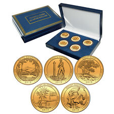 2013 Gold Plated US Mint National Park Quarters Set in Gift Box