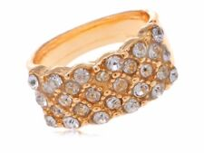 Simple Alloy Ring Band Encrusted with Clear Rhinestones Fashion Gems Shiny Band
