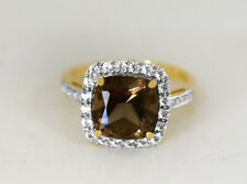 GENUINE 3.40 Cts SMOKY TOPAZ, SAPPHIRE & DIAMOND RING 10k GOLD * Free Appraisal