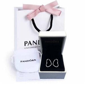 Genuine Pandora Sterling Silver Asymmetric Hearts of Love Hoop Earrings