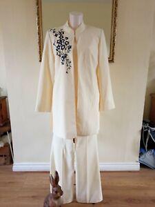 Ladies 3 Piece Trouser Suit In Vanilla Yellow. Size 12/14