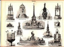 1882 OLD WATER WELL FOUNTAIN Architecture, Sculpture Renaissance Antique Print
