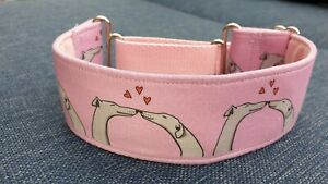 Pink kissing hounds Design 40mm reduced martingale collar