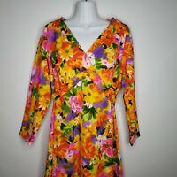 Vintage 70s Floral Empire Waist Maxi Hostess Dress M Bold Bright Orange Pink