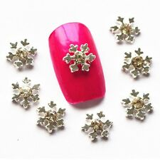 5 x 3D Alloy and Clear Rhinestone Snowflake Nail Art Charms FREE P&P (A1)