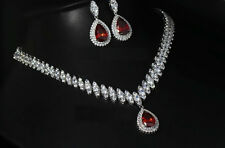 18k White Gold Necklace Earrings Set made w Swarovski Crystal Bling Clear & Red