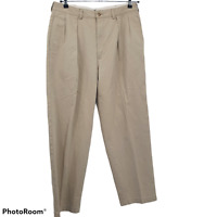 Polo Classic Golf Pants, Mens Size 34X30 Khaki Chinos Pleated