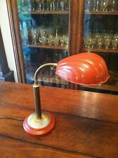 Vintage Art Deco Goose Neck Lamp with Metal Clam Shell Shade