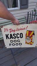 "VINTAGE KASCO DOG FOOD METAL SIGN EMBOSSED 24"" X 18"""
