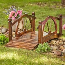 5 Ft Wagon Wheel Garden Bridge Wooden Landscape Arch Backyard Stained Wood Large