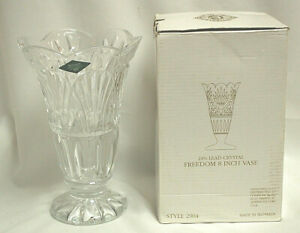 "Godinger Shannon Crystal #2904 Freedom 8"" Bud Vase 24% Lead Crystal  New  S8699"