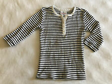 Hanna Andersson Girl 120 6 6x 7 White Black Striped L/S Thermal Top Shirt Blouse