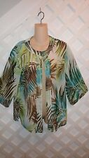CHICO'S ISLAND PRINT SEMI SHEER OPEN BEACH/CRUISE COVER UP JACKET/KIMONO 0/SM