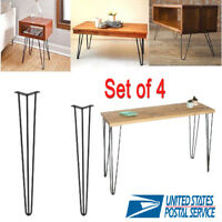 "4 Pcs 28""30""Hairpin Table Legs Heavy Duty Satin Black Steel Rods for Industrial"