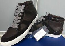 Armani Jeans homme en cuir noir haut-top Baskets Taille 9.5 (44EU) - Vente!