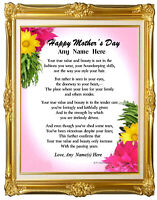 MOTHER PERSONALIZED ART POEM MOTHER'S DAY BIRTHDAY APPRECIATION