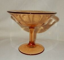 """Vintage Amber Antique Pedestal Candy Nut Relish Dish Bowl Optic 5"""" tall Compote"""