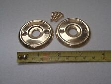 2 x 46 mm DIAMETER ANTIQUE STYLE BRASS DOOR KNOB BACK PLATE / ROSES / RIM LOCK