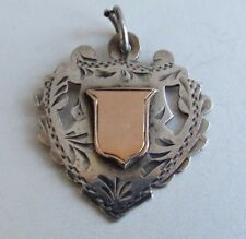 ANTIQUE  ENGLISH STERLING SILVER MEDAL AWARD SIGNET WATCH FOB 8k Gold