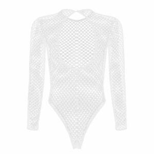 US Sexy Lingerie Women's Mesh Sheer Leotard Thong Fishnet High Cut Bodysuit