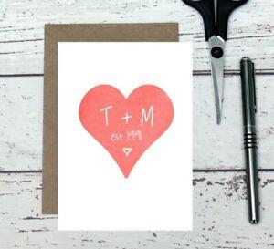 personalised anniversary card - customised love card - custom anniversary card