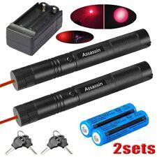 2Pc 500 Miles Long Range 650nm Star Red Laser Pointer Pen Beam Light w/ Charger