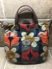 🔥Fossil Key-Per Coated Floral Canvas Leather Handbag Flowers EXCELLENT! 🔥