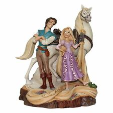 New JIM SHORE DISNEY Figurine TANGLED CARVED BY HEART Rapunzel Flynn Rider Horse