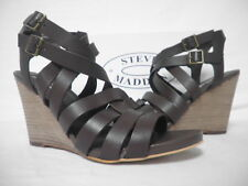 Steve Madden Size 10 M Venis Chocolate Leather Open Toe Wedges New Womens Shoes