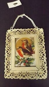 New Metal Lacey Framed Christmas Ornament Robins With Holly MWT