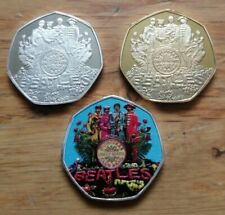 More details for the beatles - sgt peppers lonely hearts club band 3x novelty 50p size coins.
