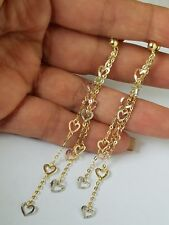 14k yellow white rose gold long drop dangle chain heart earrings