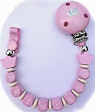♕ *PRINCESS* Word - Wooden Dummy Clip  ♕ BABY PINK ♕ Wooden Cube Letter Beads ♕