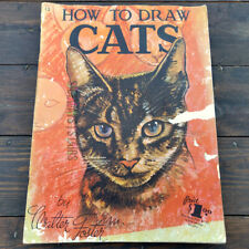 Vintage How To Draw Cats Book Walter Foster 1950s original art instruction Rare