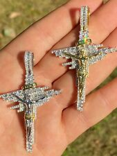 Mens Real Solid 925 Silver Iced Baguette Diamond Jesus Cross Hip Hop Necklace