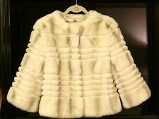YVES SALOMON Genuine Rex Rabbit Ivory Fur Jacket shaded Taupe Green Stripes 38