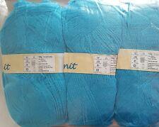 100 % Acrylic knitting yarn Turquoise blue lot of 3 x 100g