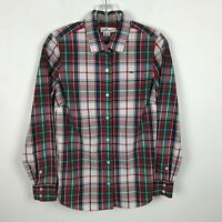 Vineyard Vines Blouse Size 0 Button Front Long Sleeve Red Green Plaid Cotton Top