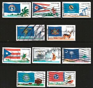 Scott #4313-22 Used Set of 10, Flags of Our Nation Set #5