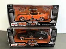 LOT OF 2 PCS 2011 FORD MUSTANG GT HARLEY DAVIDSON 1/24 BY MAISTO H-D CUSTOM