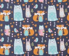 NEW Fabric Fox Owl Animals Navy FLANNEL HALF Metre x 112cm Cotton  Material